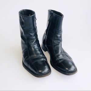 Vtg Black Leather 60s Beatle Motorcycle Boots Sz 8